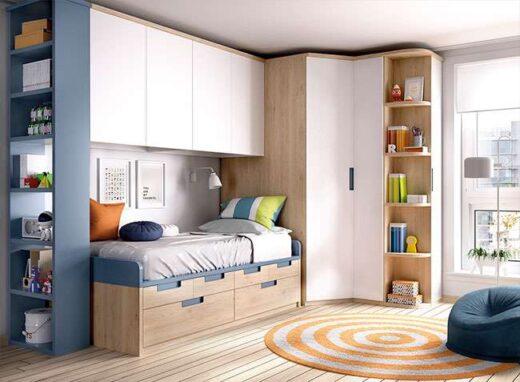 habitacion-juvenil-completa-azul-madera-armario-rinconero-zona-estudio-escritorio
