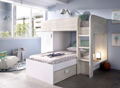 Habitación juvenil completa con litera blanca y gris, armario y cajones
