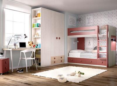 Habitación juvenil completa con litera, armario y zona de estudio color gris y teja
