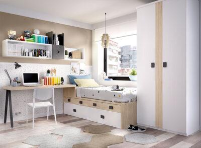 Habitación juvenil nórdica con cama nido, armario, escritorio y almacenaje modular