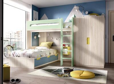 Habitación juvenil para dos con litera y armario azul y verde menta