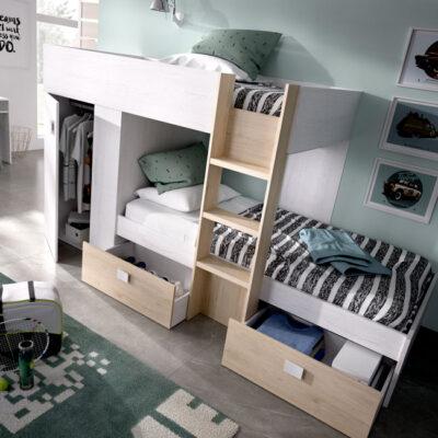Litera estilo nórdica en blanco y madera, con armarios y cajones de almacenaje