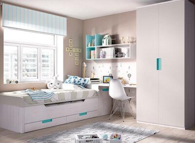 Moderno cuarto juvenil con dos camas y cajones, armario doble y mesa de estudio