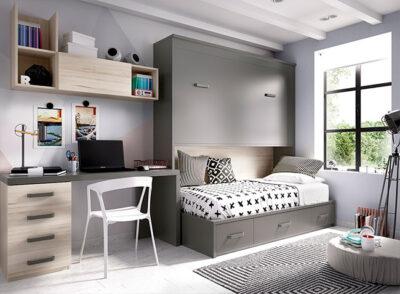 Moderno dormitorio con cama, litera abatible y zona de estudio haya y gris