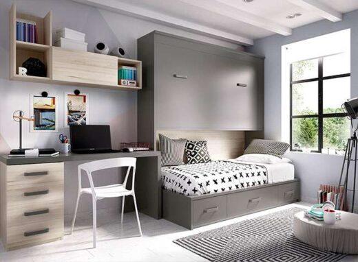 moderno-dormitorio-con-cama-litera-abatible-y-zona-de-estudio-haya-y-gris