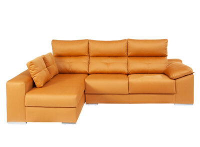 Sofá cheslong naranja reclinable con asientos deslizantes