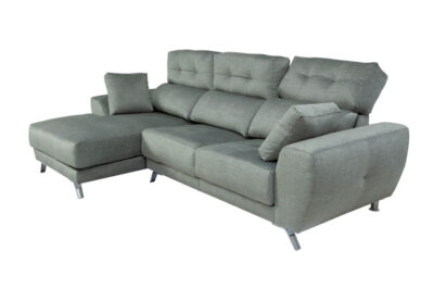 Sofá nórdico reclinable con chaise longue y asientos deslizables gris