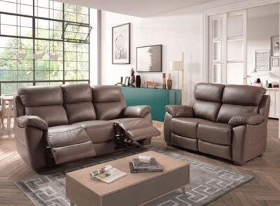 Sofá 3 plazas 2 asientos relax eléctricos marrón chocolate