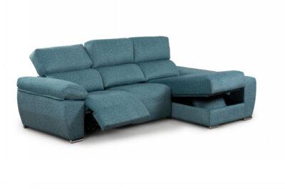 Sofá chaise longue turquesa con almacenaje y asientos eléctricos