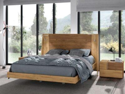 Cabecero y mesitas de madera para dormitorio estilo rústico