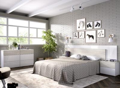 Cabecero y mesitas para dormitorio de matrimonio gris y blanco