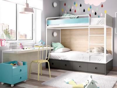 Dormitorio juvenil completo gris y azul con litera y zona de estudio