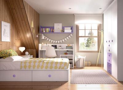 Habitación infantil completa con cuna convertible, armario con cajones y estantería