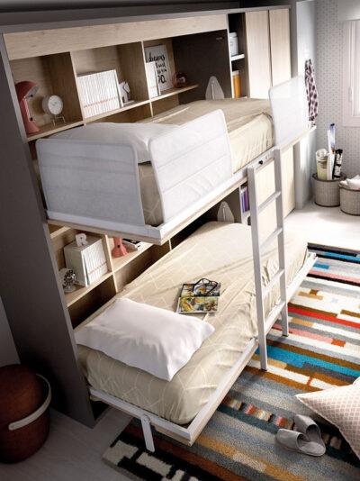 Habitación juvenil completa con litera abatible, armario y zona de estudio en acabado natural