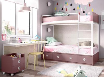 Habitación juvenil rosa y blanca con litera y zona de estudio