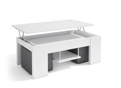 Mesa de centro blanca elevable con almacenaje interior