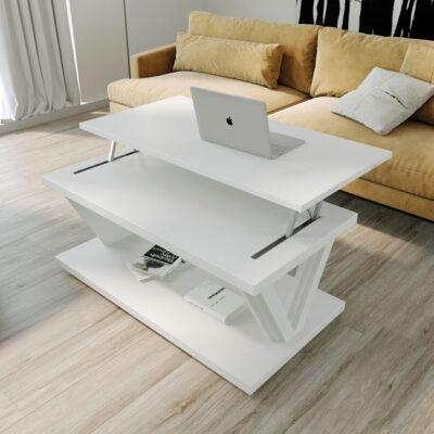 Mesa de centro blanca para salón moderno elevable