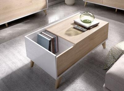 Mesa de centro blanca y madera de estilo nórdico elevable