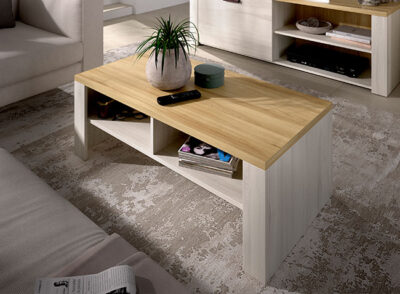 Mesa de centro blanca y madera elevable con huecos de almacenaje