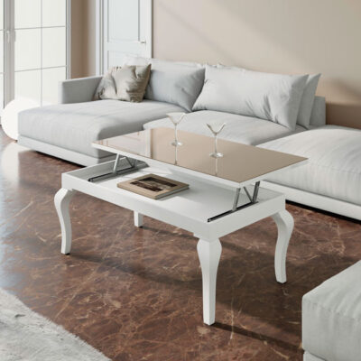 Mesa de centro clásica elevable con patas blancas