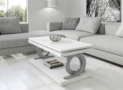 Mesa de centro de diseño blanca elevable disponible con tapa de cristal