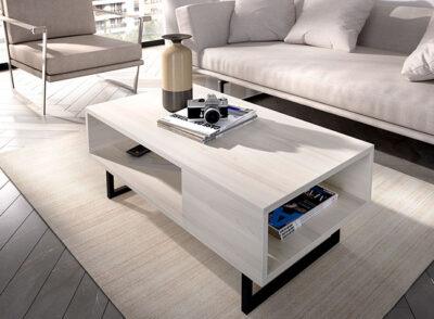 Mesa de centro de diseño con patas de metal (disponible en varios colores)