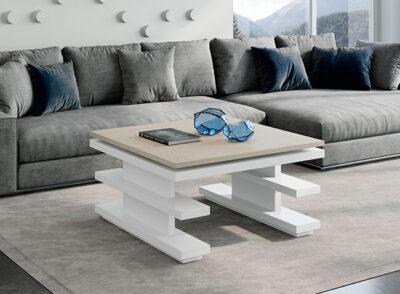 Mesa de centro de diseño con tapa blanca elevable disponible en más colores