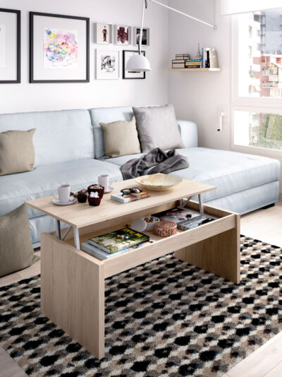 Mesa de centro elevable acabado madera natural