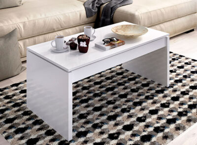 Mesa de centro elevable color blanco brillo