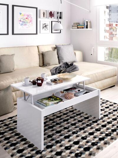 Mesa de centro elevable color blanco brillo