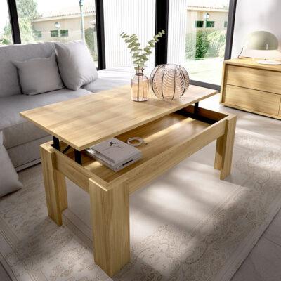 Mesa de centro elevable con almacenaje interior color madera