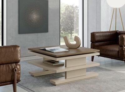 Mesa de centro elevable con tapa de madera cuadrada