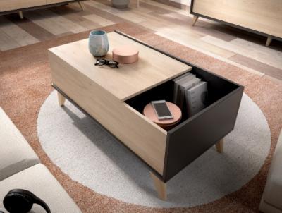 Mesa de centro elevable de estilo nórdico madera y gris