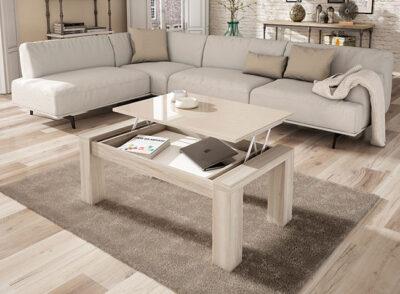Mesa de centro elevable madera con tapa brillo