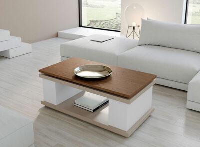 Mesa de centro elevable y extensible con tapa de madera