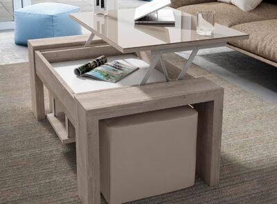 Mesa de centro elevable y extensible tapa lacado brillo