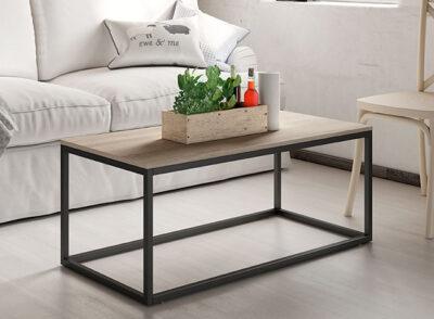 Mesa de centro industrial con patas negras rectangular