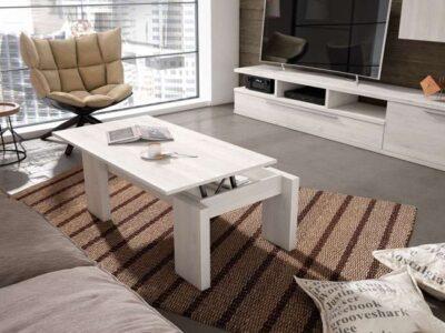 Mesa de centro minimalista blanca elevable disponible en varios colores