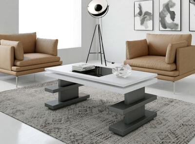 Mesa de centro para salón con tapa elevable blanca