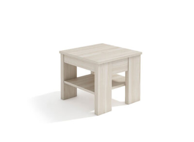 Mesa de centro pequeña cuadrada con repisa