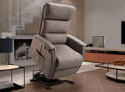Sillón relax eléctrico color gris con mando