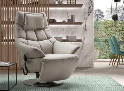 Sillón relax eléctrico piel disponible en gris y negro