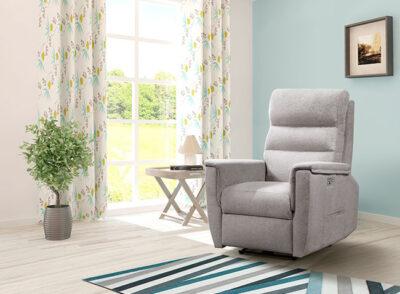 Sillon relax manual reclinable gris tapizado en tela