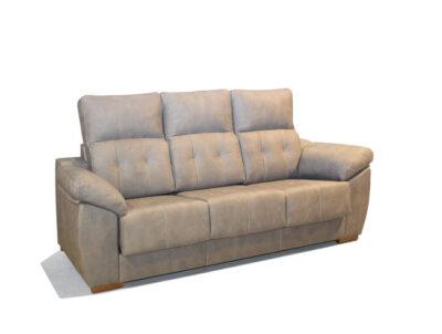 Sofá 3 plazas beige con asientos deslizantes y respaldo reclinable