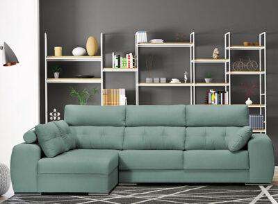 Sofá cheslong con asientos deslizantes verde y respaldo reclinable