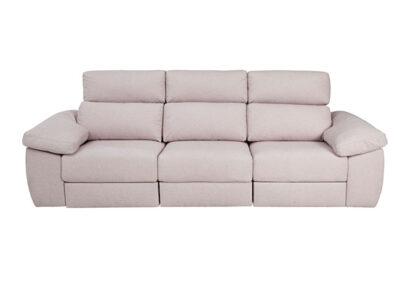 Sofá de tres plazas con asientos deslizantes y respaldo reclinable beige