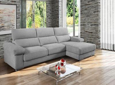 Sofá reclinable con chaise longue gris y asientos deslizantes