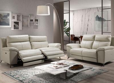 Sofá relax eléctrico tres plazas en color crema