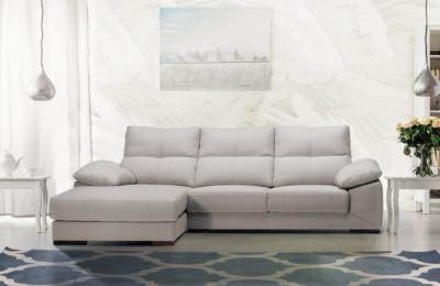 Sofá rinconera con chais longue gris tapizado en tela de fácil limpieza