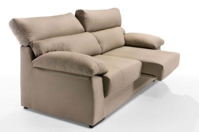 Sofá tres plazas con asientos deslizantes beige